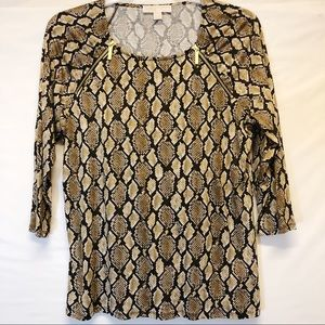 Michael Kors Top with Gold Zipper Embellishments
